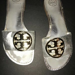 Tory Burch Metallic Silver Leather Sandals 8.5M